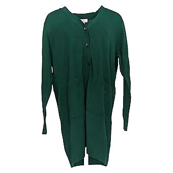 Denim & Co. Women's Petite Sweater Long Sleeve Button Front Green A293416