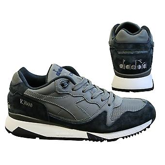 Diadora V7000 Italia Suede Leather Grey Blue Lace Up Mens Trainers C6282 B0C