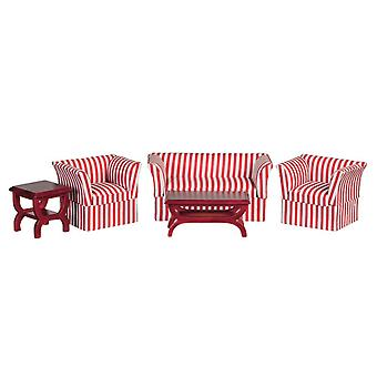 Dolls House Miniature 1:12 Scale Living Room Furniture Set Art Déco Striped Suite