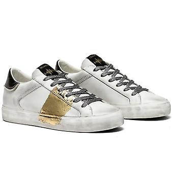 Crime London Distressed White Sneaker mit Gold