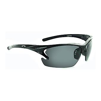 Laser - smoked lens ergonomic cycle / moto sunglasses