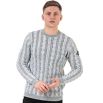 Men's Henri Lloyd Wool Mix Round Neck Cable Jumper in Grey