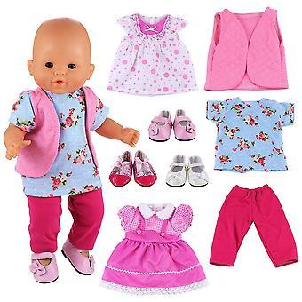 Miunana 8 items = 5 pcs kleding jurken + 3 pcs schoenen voor baby poppen, pasgeboren poppen, onze generatie