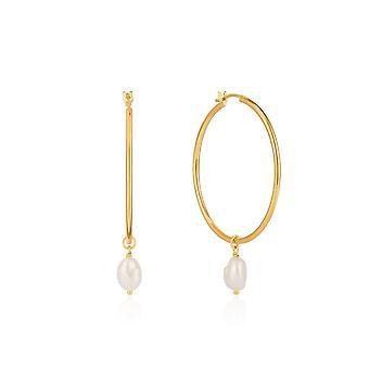 Ania Haie Shiny Gold Pearl Hoop Earrings E019-03G