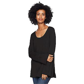 Daily Ritual Women's Terry Cotton and Modal Square-Sleeve, Black, Size Medium