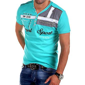 Mens βαμβάκι V-λαιμό, πόλο πουκάμισο κοντό μανίκι, slim fit, tees καλοκαιρινό τοπ,