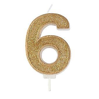 Kultainen kimalteleva numerokynttilä - numero 6 - 70mm