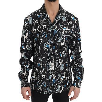 Dolce & Gabbana Black Silk Jazz Motiv Print Casual Shirt