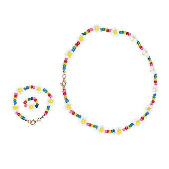 Gyermekek dekoratív nyaklánc karkötő gyűrű ékszer szett 3Db / set