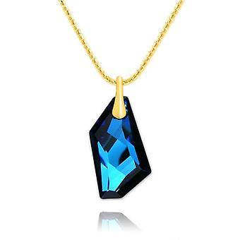 24K gouden ketting blauwe steen
