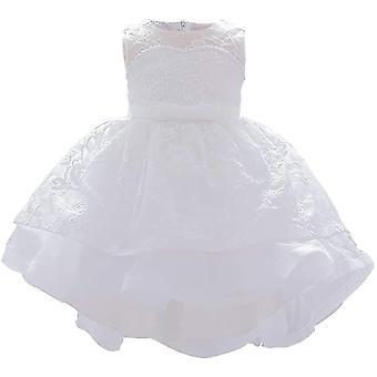 Robe formelle de princesse de baptême de bébé 887-blanc