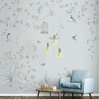 Mural 3d Ang Hand-painted Flowers And Birds Tv Decorative Painting Background