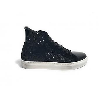 Обувь женщины Тони Дикий sneaker Высокий черный блеск / Ламинат звезда замша D18tw12