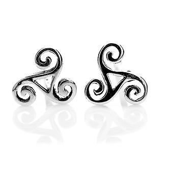 Sterling Silver Stud Earrings - Celtic Triskele