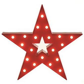 Christmas Shop Red Lit Star Decoration
