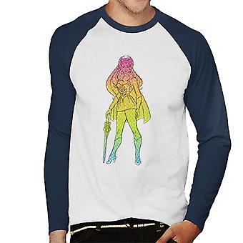 She-Ra Gradient Silhouette Men's Baseball Long Sleeved T-Shirt