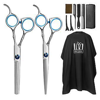 HanFei Haarschere Set friseur schere ausdnnen Haarschnitt Modellierschere mit friseurumhang, Kmme