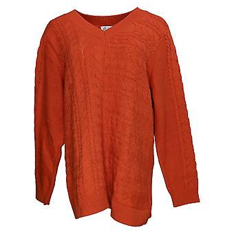 Denim & Co. Maglione donna V-Neck Cavo a manica lunga Tunica Arancione A383681