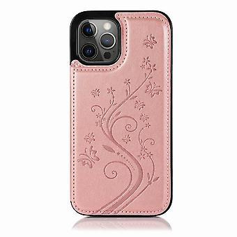 Stoßfeste Schmetterling Design Ledertasche für iPhone 12 Pro Max 6.7 - Rose gold