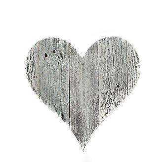 """24"""" Rustic Farmhouse White Wash Large Wooden Heart"""
