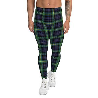 Green And Blue Plaid Tartan Leggings