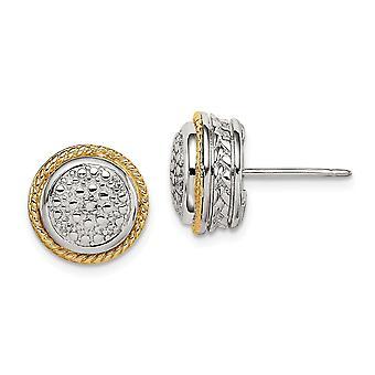 925 Sterling Zilver met 14k gepolijste diamanten oorbellen sieraden geschenken voor vrouwen - .05 dwt