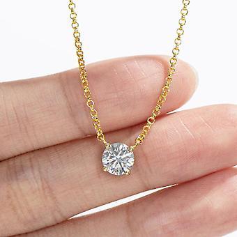 Moissanite Diamant Anhänger Halskette 925 Sterling Silber High Carbon simuliert Diamant(golden)