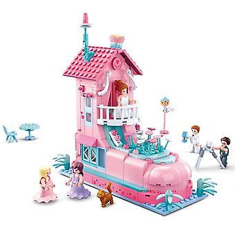 Zmontowany budynek Ślub float Chłopcy i dziewczęta zabawki zabawki gry mózgu| Układanie bloków(różowy)