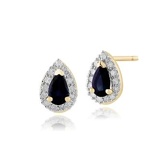 9ct Yellow Gold 0.48ct Sapphire & Diamond Pear Cluster Stud Earrings