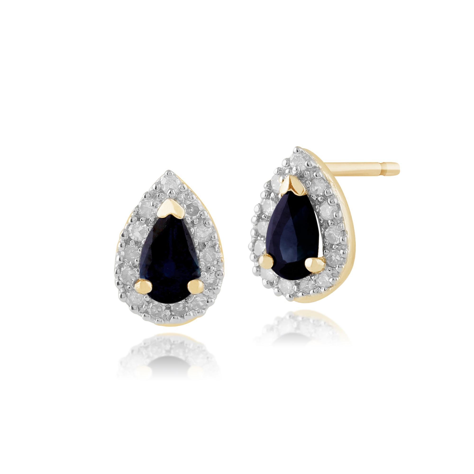 Gemondo 9ct Yellow Gold Sapphire & Diamond Pear Cluster Stud Earring & Ring Set