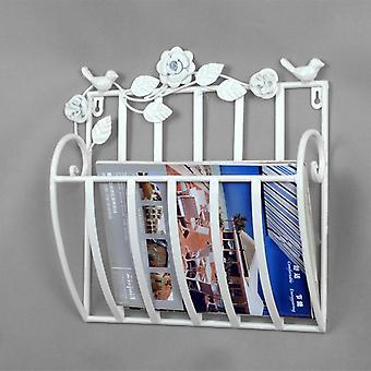 Metalliseinään asennetut sanomalehdet Rack & Books Magazine Holder