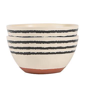 2x Ceramic Stripe Rim Cereal Bowls Patterned Dinnerware 15cm Monochrome