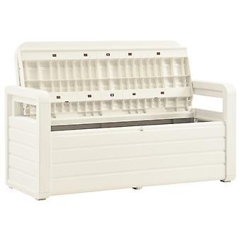 vidaXL banc de jardin avec rangement 132,5 cm plastique blanc
