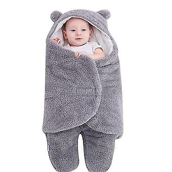 6M gray cute bear organic newborn swaddle wrap x3694