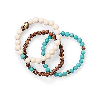 Wood and Magnesite Buddha Stretch Bracelet Set Three 7 Inch Bracelets First Has 5.5mm Beads Jewelry Gifts for Women