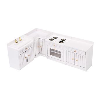 ل4/Set خزائن المطبخ الخشبية ل1:12 مصغرة بيت الدمى الأثاث WS2271
