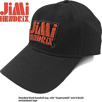 Jimi Hendrix - Orange Stencil Logo Men's Baseball Cap - Black