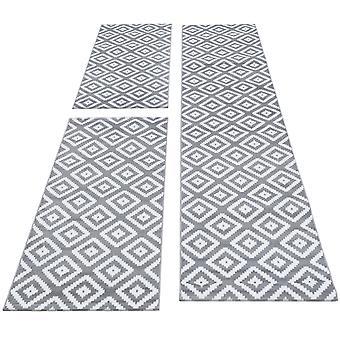 Seng kant runner tæppe kort bunke ternet mønster runner sæt 3 dele soveværelse gangen Broget grå hvid