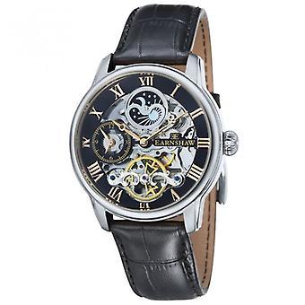 Thomas Earnshaw Es-8006-04 Longitude Silver, Gold & Black Leather Mens Automatic Skeleton Watch