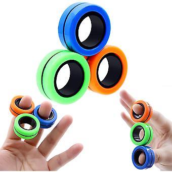 Anti-Stress magnetische ringen Fidget Unzip Speelgoed Magic RingTools Kinderen Magnetische Ring Vinger Spinner