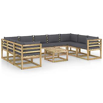 vidaXL 10 pcs. Garden Lounge Set with Cushion Impregnated Pine Wood