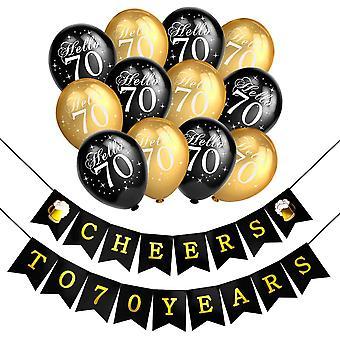 70. Geburtstag Party Dekorationen, Schwarz und Gold Luftballons Latexballons und Prost auf 70 Jahre