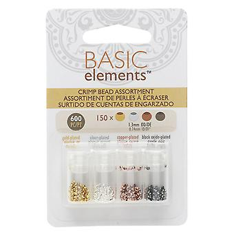 Basic Elements Crimp Beads, 4 Color Variety Pack 1.3mm, 600 Pieces, Assorted