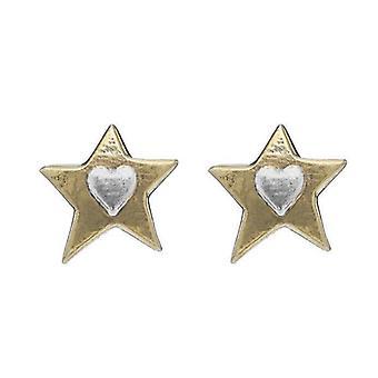 Guldstjärna Hjärta Stud Örhängen