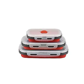 Rectangular Bento Box Lunch Box Silicone Folding Food Container 350/500/800ML 3 Piece Set