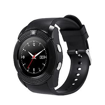 V8 Smart Watch SIM & TF Card Supporto Bluetooth Smart Watch con fotocamera Sleep Monitor WristWatch per smartphone Android iOS (nero)
