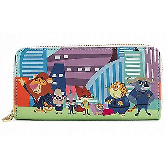Loungefly Purse Zootopia Chibi Group new Official Disney Blue Zip Around