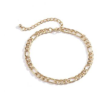 A047 2pcs Jewelry Female Simple Beach Element Geometric 3:1 Chain Foot Chain Foot Ornament Initial Anklets
