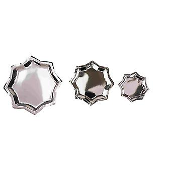 Star Silver Paper Party Plates x 6 Christmas Birthday Cookie Plates