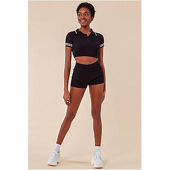 Cosmochic Crop Top & Short Loungewear Set - Black